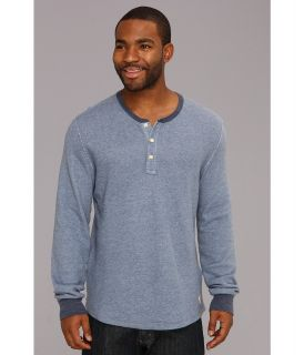 Lucky Brand Double Fabric Contrast Henley Mens Long Sleeve Pullover (Blue)