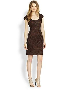 Sue Wong Soutache Embroidered Cocktail Dress   Chocolate