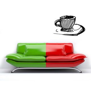 Coffee Cup Vinyl Wall Decal (Glossy blackEasy to applyDimensions 25 inches wide x 35 inches long )