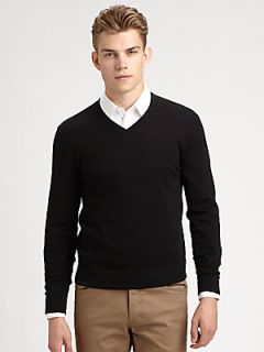 Theory Leiman V Neck Cashmere & Cotton Sweater