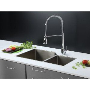 Ruvati RVC2356 Combo Stainless Steel Kitchen Sink and Chrome Faucet Set