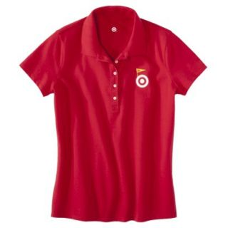 Womens Red Banner Art Short Sleeve Polo   S