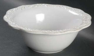 Simply Shabby Chic Chateau Soup/Cereal Bowl, Fine China Dinnerware   All White,E