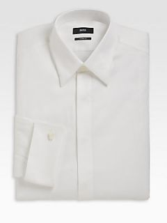 BOSS HUGO BOSS Laurence Cotton Dress Shirt   White