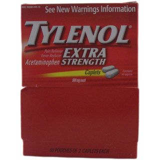 Tylenol Extra Strength Pain Reliever 2 caplet Pouches (pack Of 50) (Two (2) 500 mg caplets per pouchQuantity 50 pouchesTargeted area Pain reliefActive ingredients Acetaminophen We cannot accept returns on this product.Due to manufacturer packaging chan