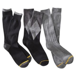 Auro a GoldToe Brand Mens 3PK Argyle Socks   Black 6 12