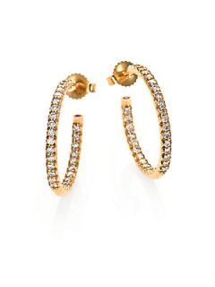 Roberto Coin Diamond & 18K Yellow Gold Inside Outside Hoop Earrings/0.75   Yell