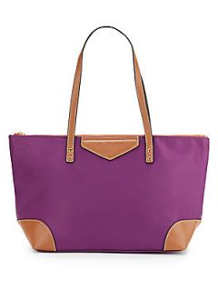 Faux Leather Trimmed Nylon Tote Bag   Violet