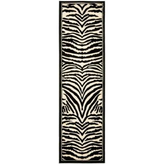 Lyndhurst Collection Zebra Black/ White Runner (23 X 14)