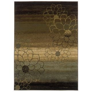 Abstract Floral Area Rug   Brown (53x76)