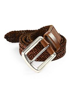 Brunello Cucinelli Braided Leather Belt   Cognac