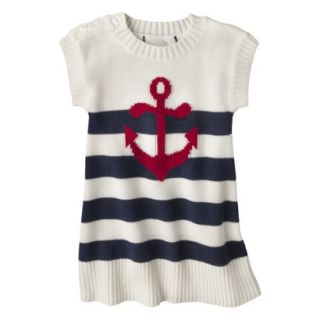 Infant Toddler Girls Striped Anchor Sweater Dress   White/Navy 3T