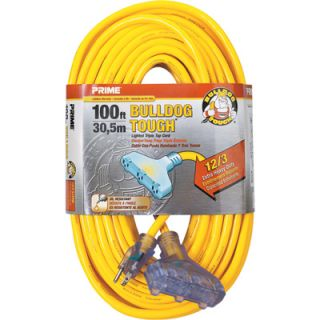 Prime Wire & Cable Bulldog Tough Outdoor Extension Cord with Triple Tap   100ft.