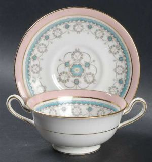 Royal Cauldon Conway Footed Cream Soup Bowl & Saucer Set, Fine China Dinnerware
