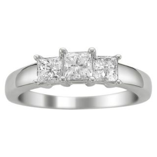 1 CT. T.W. Princess Cut Diamond 3 Stone Prong Set Ring in 14K White Gold (H I,