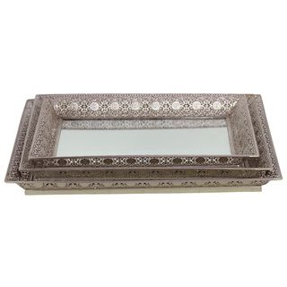 Urban Trends Collection Silver Metal Tray Mirrors (set Of 3) (MetalFinish SilverDimensions (small) 15.16 inches high x 10.63 inches wide x 1.57 inches deepDimensions (medium) 16.73 inches high x 12.2 inches wide x 1.57 inches deepDimensions (large) 18