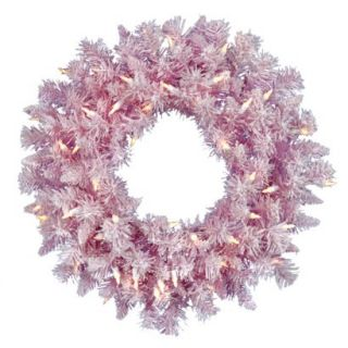 Pre Lit Flocked Wreath   Clear Lights (24)