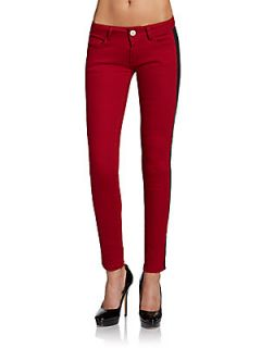 Faux Leather Trimmed Jeans   Wine