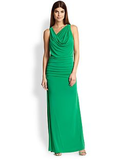 BCBGMAXAZRIA Cutout Back Draped Stretch Jersey Gown   Green