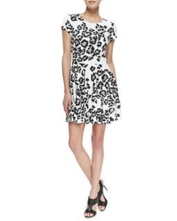 Womens Fawn Siberian Snow Leopard Print Dress, Black/White   Parker