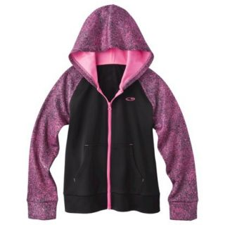 C9 by Champion Girls Tech Fleece Full Zip Hoodie   Ebony L
