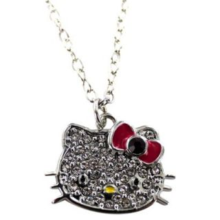Hello Kitty Crystal Necklace   Silver/Clear