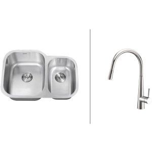 Ruvati RVC2542 Combo Stainless Steel Kitchen Sink and Chrome Faucet Set