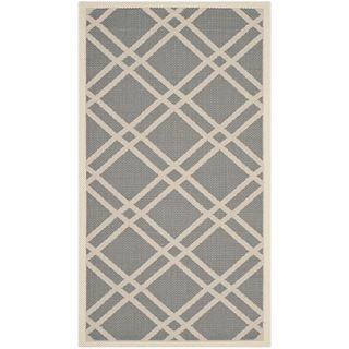 Easy to maintain Safavieh Indoor/ Outdoor Courtyard Anthracite/ Beige Rug (27 X 5)