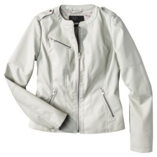 Mossimo Womens Faux Leather Jacket  Ivory S