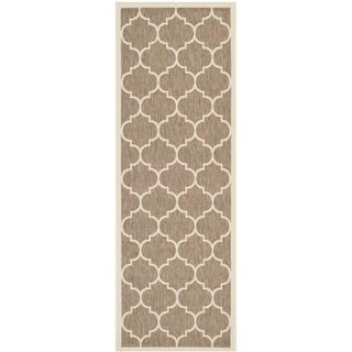 Safavieh Indoor/ Outdoor Courtyard Brown/ Bone Contemporary Rug (23 X 67)