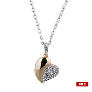8GB Crystal Heart Shaped USB Flash Drive Necklace (Gold)