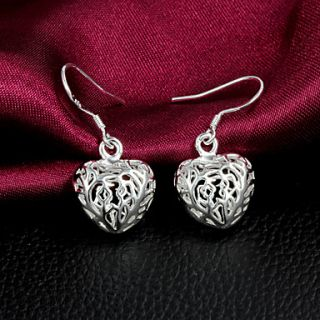 High Quality Heart Shape Slivery Alloy Womens Drop Earring(1 Pair)
