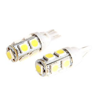 2PCS T10 5050 9 SMD LED LED Light Bulbs Interior Wedge Lamp White for Motorcycle