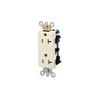 Leviton 16352T Electrical Outlet, Decora Plus Duplex Receptacle 20A, Commercial Grade Light Almond