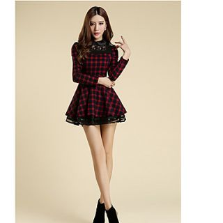 Newcomerland Spring New Autumn And Winter 2014 Korean Women Slim Lace Dress Long Sleeve Bottoming Tutu 1024 (Red)