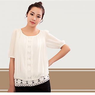 Newcomerland Korean Version Princess Stitching Lace Chiffon Sleeve Shirt (White)