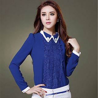 JFS Korea Sytle Womens Slim Fit Chiffon Lace Long Sleeve Shirt