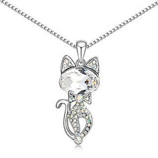 Xingzi Womens Charming White Persian Cat Crystal Dangling Necklace