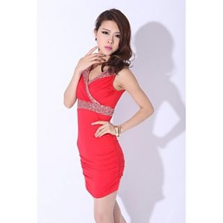 Womens Sexy Sleeveless V neck Bodycon Short/Mini Sequined Club Dress
