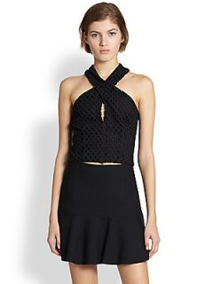 Line & Dot Cotton Eyelet Crossover Halter Top   Black