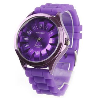 Womens Chrysanthemum Style Dial Silicone Band Quartz Analog Wrist Watch (Purple)