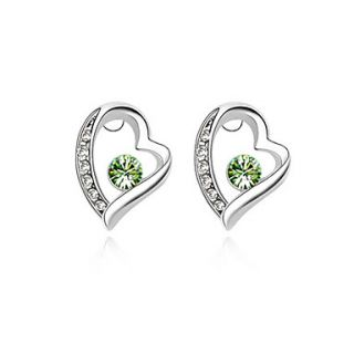 Heart Stud Earrings In High Quality Alloy With Crystals