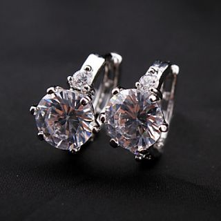 Silver Plated Alloy Diamond Shaped Crystal Earrings