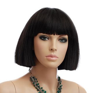 Capless Short Black Straight High Quality Synthetic Hair Wigs