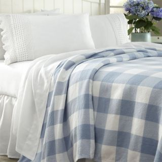 Handwoven Cotton Gingham Blanket / Only Twin, Blue/White, Twin