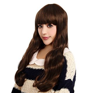 Capless Charming Long Curly Brown High Quality Synthetic Hair Wigs Full Bang