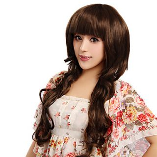 Capless Long Curly Brown High Quality Synthetic Hair Wigs Full Bang
