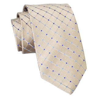 Stafford Dotted Grid Silk Tie, Taupe, Mens