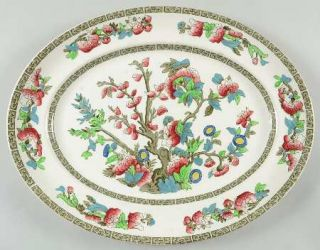 Johnson Brothers Indian Tree (Green Key, Cream) 16 Oval Serving Platter, Fine C