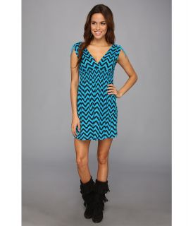 Rock and Roll Cowgirl Chevron Sleeveless Dress Womens Dress (Blue)